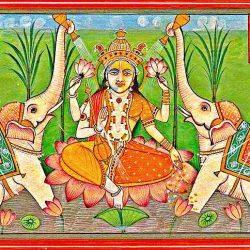 Laksmi istennő indiai festmény