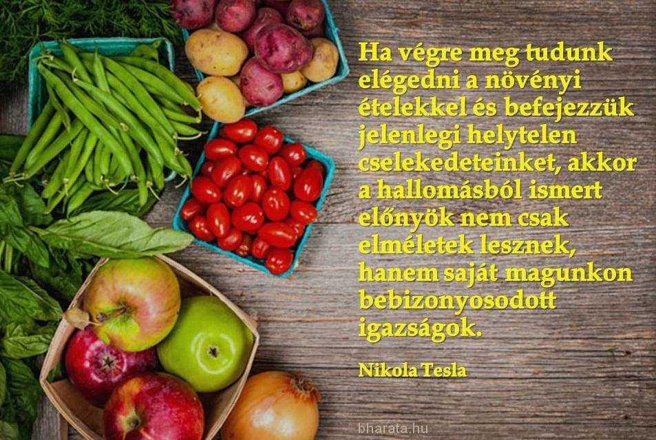 Nikola Tesla idézet a vegetáriánus étkezésről