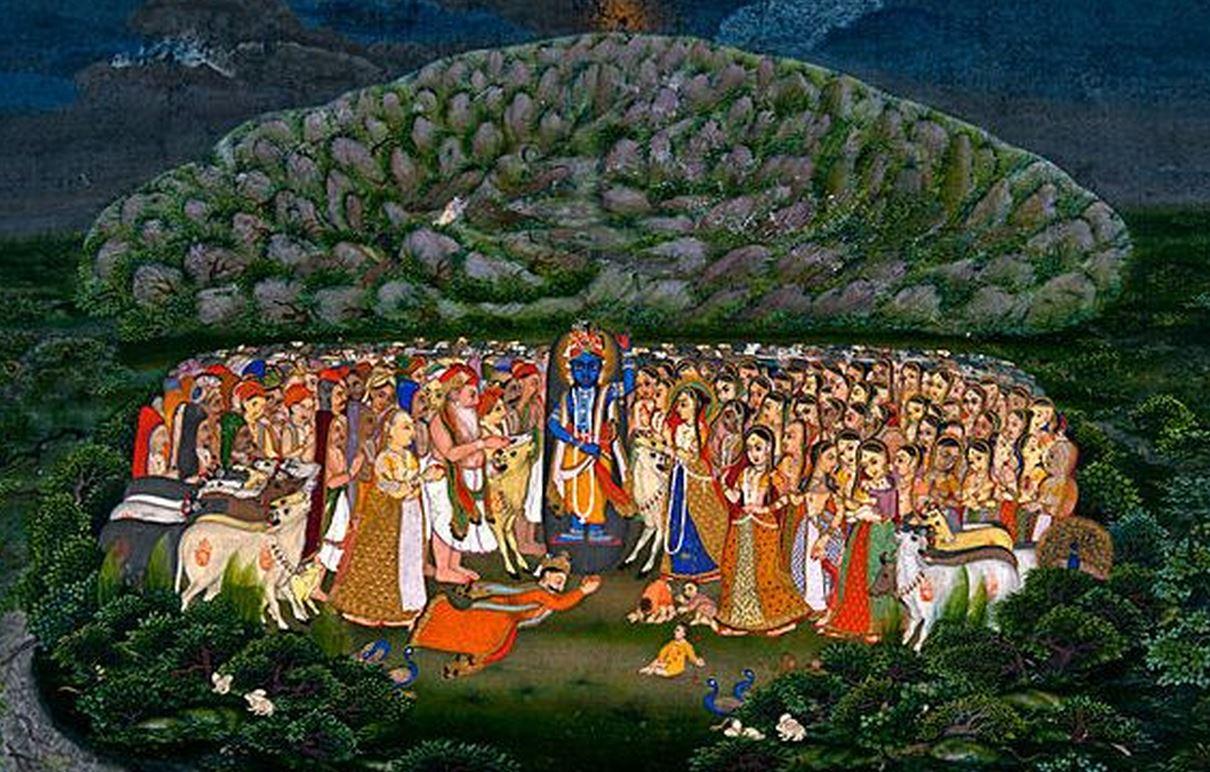 Góvardhan lila, a púdzsa amikor Krisna felemeli a Góvardhan hegyet