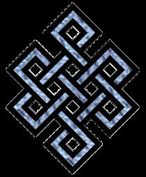 A végtelen csomó is a karma szimbóluma, mely az ok-okozati összefüggésre utal.